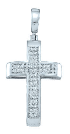 Diamond Cross Pendant 10K White Gold 0.14 cts. GD-50248