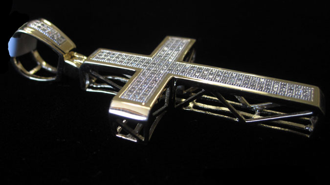 Diamond Cross Pendant 10K White Gold 0.50 cts. GD-57755