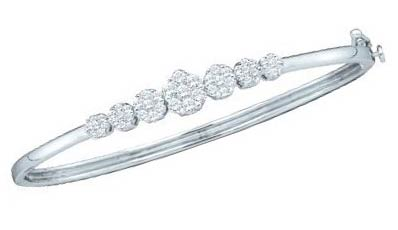 Ladies Diamond Bangle 14K White Gold 1.00 ct. GD-34331