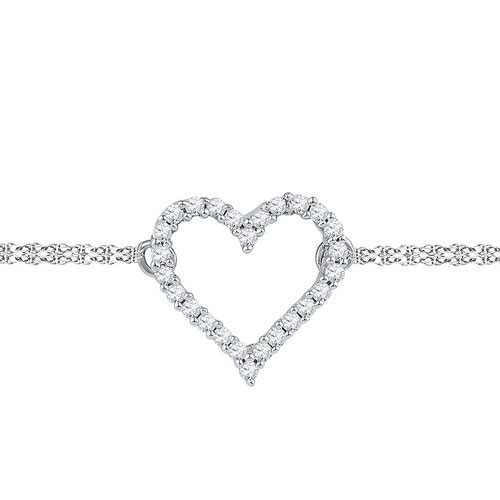 Diamond Heart Bracelet 10K White Gold 0.12 cts. GD-97119