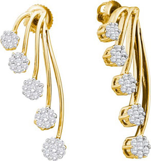 14K Yellow Gold Diamond Cluster Earrings 1.00 ct. GD-37321