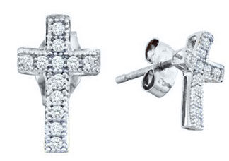 10K White Gold Diamond Cross Earrings 0.10 cts. GD-50139