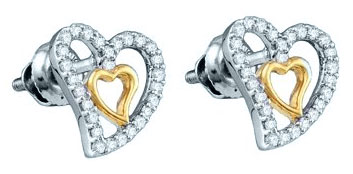 Ladies Diamond Heart Earrings 10K White Gold 0.23 cts. GD-60250