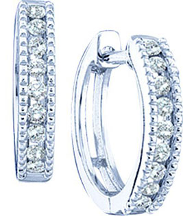 Diamond Cuff Earrings 10K White Gold 0.26 cts. GD-46103