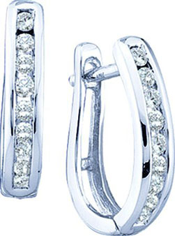 Diamond Cuff Earrings 10K White Gold 0.25 cts. GD-46131