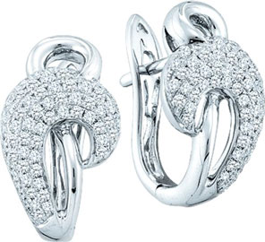 Diamond Cuff Earrings 14K White Gold 0.76 cts. GD-51205