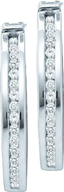 Diamond Cuff Earrings 10K White Gold 0.15 cts. GD-57357