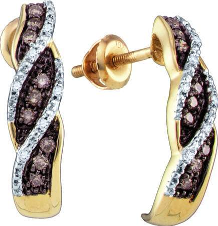 Champagne Diamond Earrings 10K Yellow Gold 0.21 cts. GD-71971
