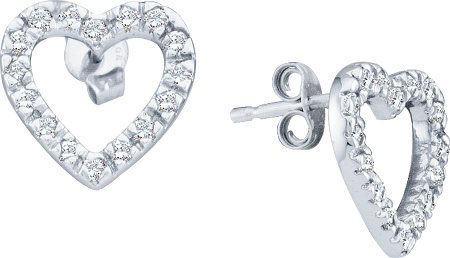 Ladies Diamond Heart Earrings 10K White Gold 0.22 cts. GD-21678