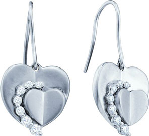 Ladies Diamond Heart Earrings 14K White Gold 0.33 cts. GD-45729