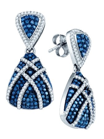 Blue Diamond Fashion Earrings 10K White Gold 1.35 cts. GD-72458