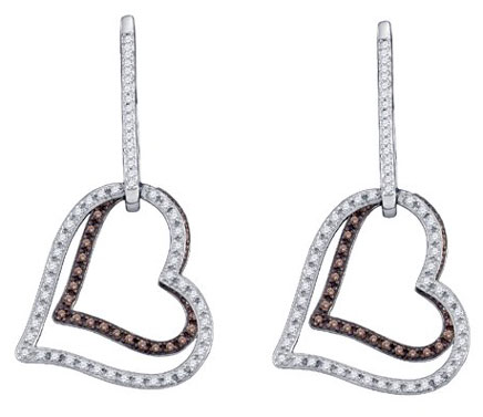Ladies Diamond Heart Earrings 10K White Gold 0.55 cts. GD-72577