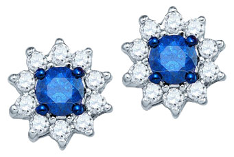 Blue Diamond Fashion Earrings 10K White Gold 0.53 cts. GD-80067