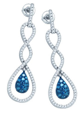 Blue Diamond Fashion Earrings 10K White Gold 0.80 cts. GD-81902