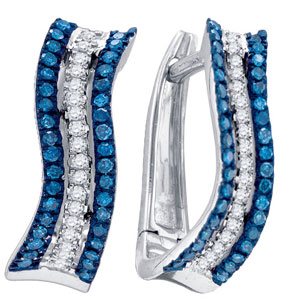 Blue Diamond Fashion Earrings 10K White Gold 0.25 cts. GD-84114