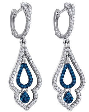 Blue Diamond Earrings 10K White Gold 0.50 cts. GD-84373
