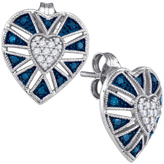 Blue Diamond Heart Earrings 10K White Gold 0.26 cts. GD-85847