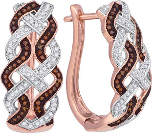 Ladies Diamond Fashion Earrings 10K Rose Gold 0.45 cts. GD-88330