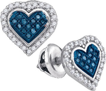 Blue Diamond Heart Earrings 10K White Gold 0.25 cts. GD-88747