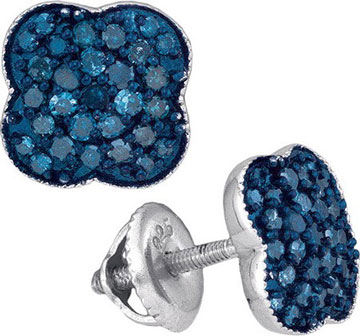 Blue Diamond Earrings 10K White Gold 0.50 cts. GD-88812