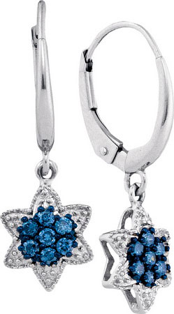 Blue Diamond Fashion Earrings 10K White Gold 0.27 cts. GD-89180