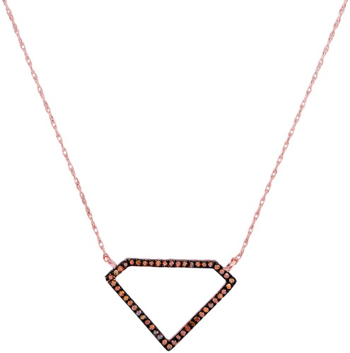 Red Diamond Diamond Necklace 10K Rose Gold 0.12 cts. GD-97662
