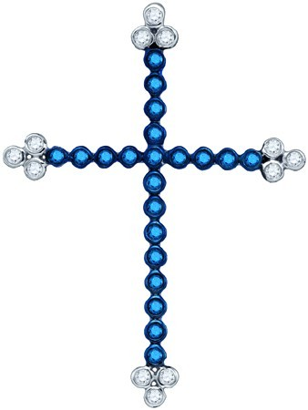 Blue Diamond Cross Pendant 10K White Gold 0.35 cts. GD-75044