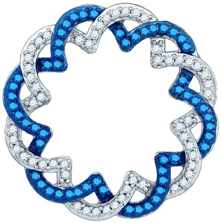 Blue Diamond Circle Pendant 10K White Gold 0.33 cts. GD-80426