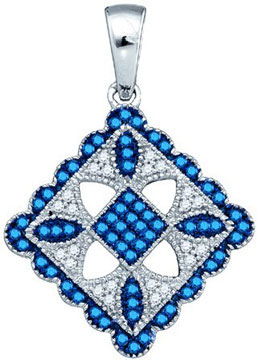 Blue Diamond Fashion Pendant 10K White Gold 0.25 cts. GD-81480