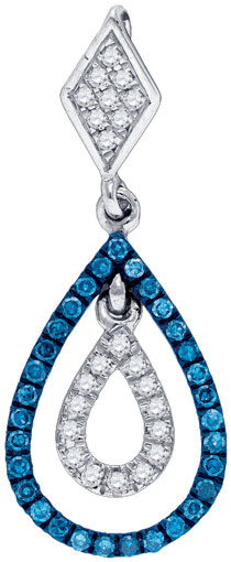 Blue Diamond Fashion Pendant 10K White Gold 0.18 cts. GD-84120