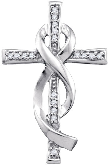Diamond Infinity Cross Pendant 10K White Gold 0.09 cts. GD-86529