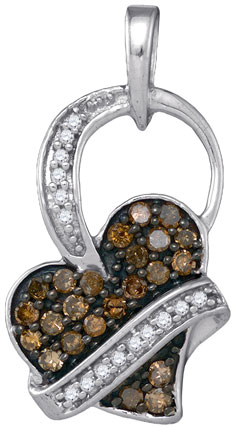 Brown Diamond Heart Pendant 10K White Gold 0.33 cts. GD-87000