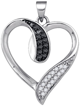 Black Diamond Heart Pendant 10K White Gold 0.22 cts. GD-87399