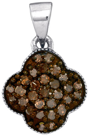 Brown Diamond Fashion Pendant 10K White Gold 0.25 cts. GD-88625