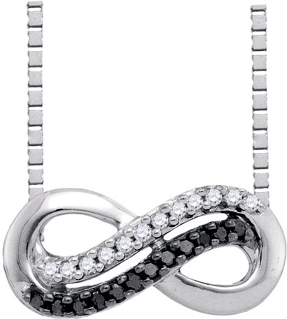Black Diamond Infinity Pendant 10K White Gold 0.11 cts. GD-91061