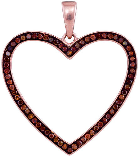 Red Diamond Heart Pendant 10K Rose Gold 0.20 cts. GD-93429