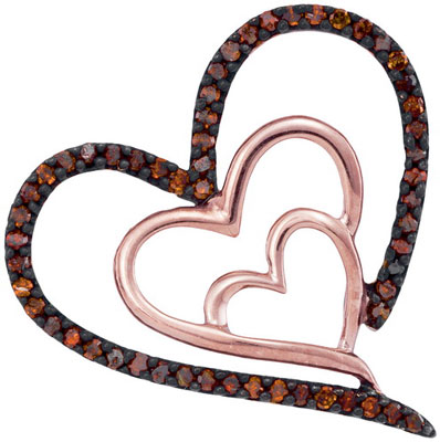 Red Diamond Heart Pendant 10K Rose Gold 0.15 cts. GD-93538