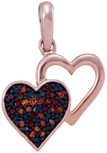 Red Diamond Duo-Hearts Pendant 10K Rose Gold 0.08 cts. GD-93539