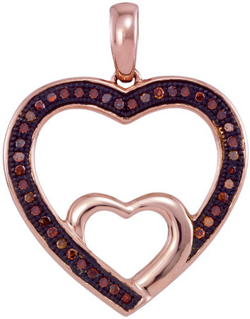 Red Diamond Heart Pendant 10K Rose Gold 0.12 cts. GD-93542