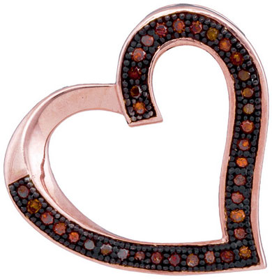 Red Diamond Heart Pendant 10K Rose Gold 0.10 cts. GD-93543