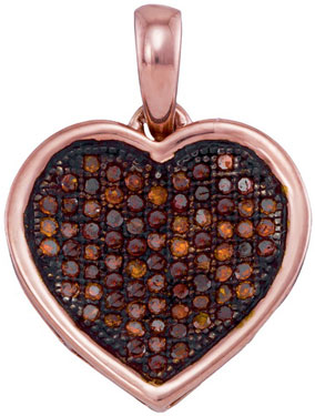 Red Diamond Heart Pendant 10K Rose Gold 0.25 cts. GD-93545