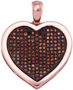 Red Diamond Heart Pendant 10K Rose Gold 0.50 cts. GD-93546
