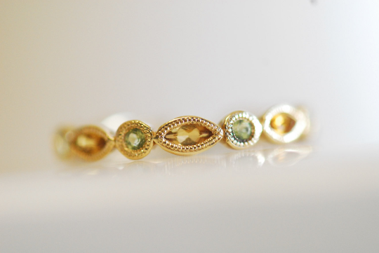 Peridot and Citrin Milgrain Ring 14K Yellow Gold 6J000
