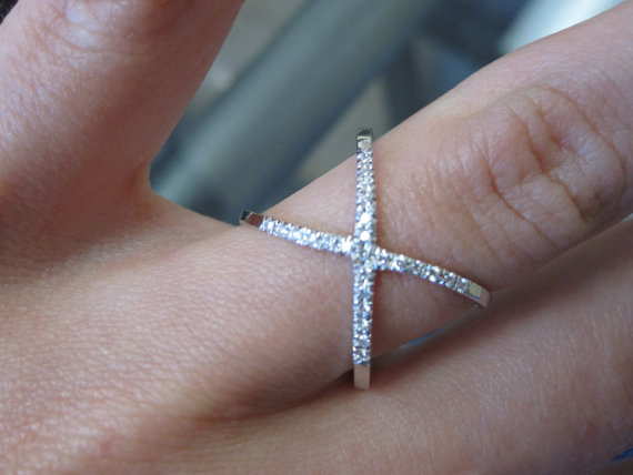 Diamond Criss Cross X Ring 14K White Gold 0.15 cts. 6J7800
