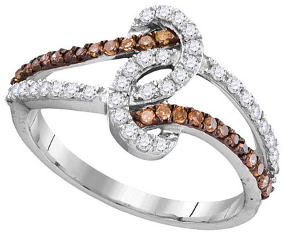 Cognac Diamond Fashion Ring 10K White Gold 0.50 cts. GD-104439