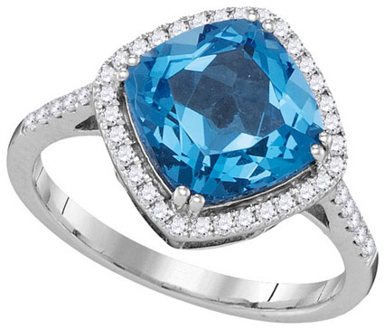 Ladies Diamond Blue Topaz Ring 14K White Gold 3.56 cts. GD-105023