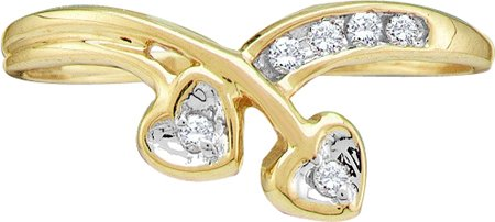 Ladies Diamond Heart Ring 10K Yellow Gold 0.10 cts. GD-12793