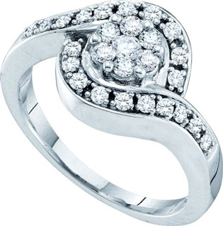 Ladies Diamond Flower Ring 14K White Gold 0.50 cts. GD-18679