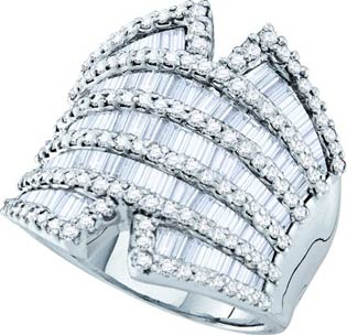 Diamond Cocktail Ring 14K White Gold 2.82 cts GD-28211