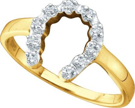Ladies Diamond Horse Shoe Ring 10K Yellow Gold 0.05 cts. GD-29430